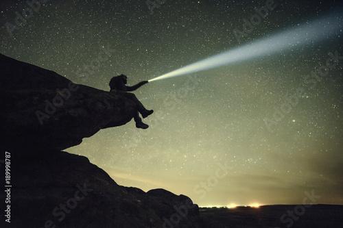 Obraz Night Vintage Landscape with Stars in Sky - fototapety do salonu