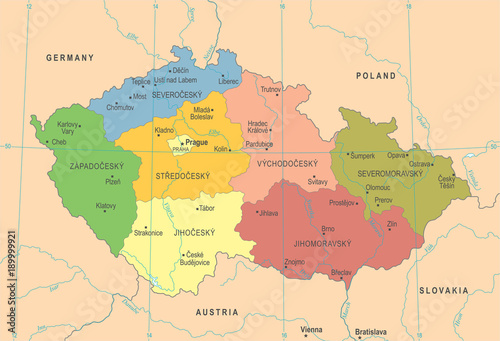 Fotografie, Tablou  Czech Republic Map - Detailed Vector Illustration