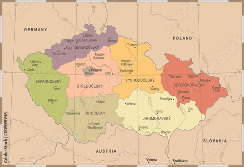 Czech Republic Map - Vintage Detailed Vector Illustration Tablou Canvas