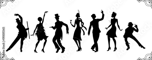Fototapeta premium Impreza Charleston. Zestaw w stylu Gatsby. Grupa retro kobieta i mężczyzna czarna sylwetka taniec charleston. Styl Vintage. Tancerz sylwetka retro. Tło wektor party. Dziewczyna tańca swing.