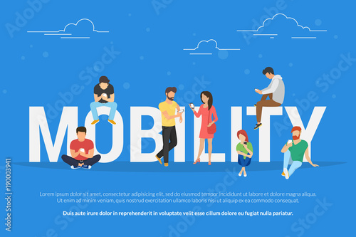 Cuadros en Lienzo  Mobility concept vector illustration of young people using mobile smartphones and apps for mobile services, social networks and ecommerce