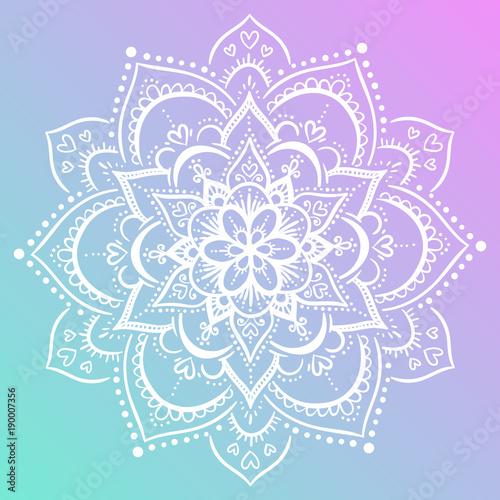 Colorful purple and blue background flower mandala Canvas Print