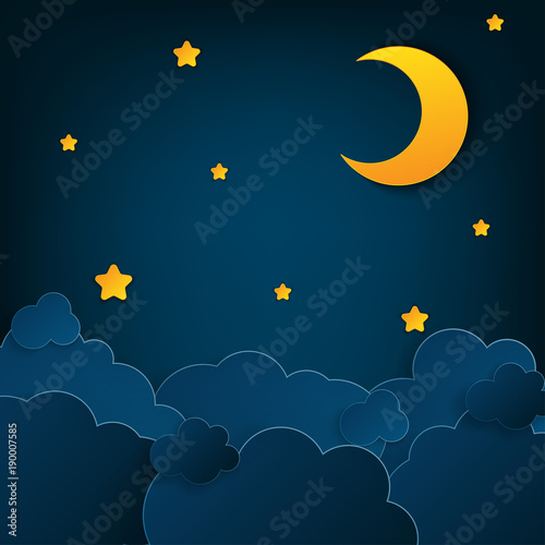 Foto op Aluminium Kosmos Paper art half moon, rays, fluffy clouds and stars in midnight. Modern 3d origami paper art style. Vector illustration, dark night sky