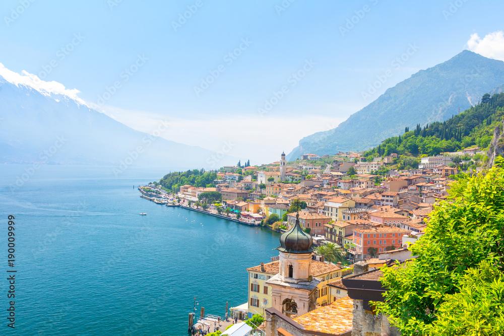 Fototapeta amazing view on Limone Sul Garda town on Lake Garda