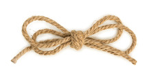 Rough Rope Bow Knot, Isolated On White Background, Close Up, Top View.