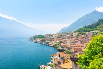 amazing view on Limone Sul Garda town on Lake Garda