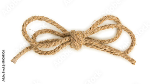 Photographie  Rough rope bow knot, isolated on white background, close up, top view
