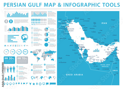 Fotografija  Persian Gulf Map - Info Graphic Vector Illustration