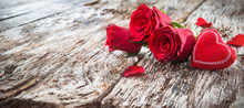 Red Heart With Roses On A Rust...