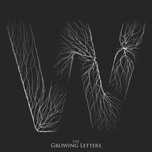 Vector Letter W Of Branch Or Cracked Alphabet. W Symbol Consisting Of Growing White Lines. Fractured Letters. Lighting Silhouet Of Capital Letters. Abstract Font.