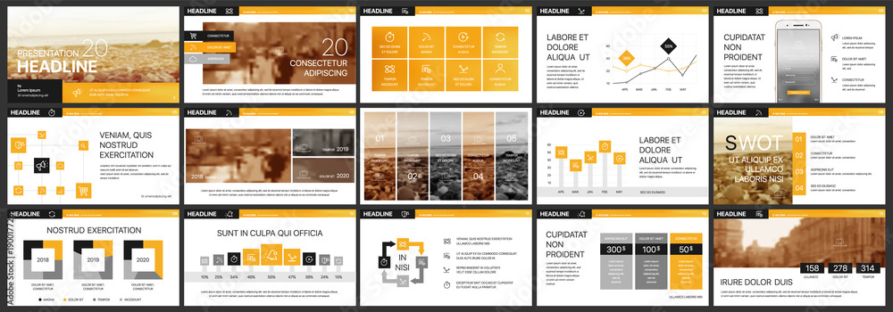 Obraz Orange presentation templates elements on a white background. Vector infographics. Use in Presentation, flyer and leaflet, corporate report, marketing, advertising, annual report, banner. fototapeta, plakat