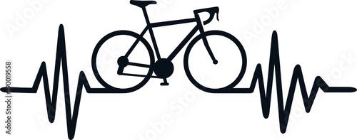 Cycling heartbeat line Canvas Print