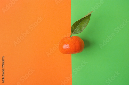 Single Bright Ripe Tangerine on Contrast Background from Combination of Orange Green Colors. Styled Creative Image. Tropical Fruit Vacation Summer Beach Party Vegan Concept. Copy Space