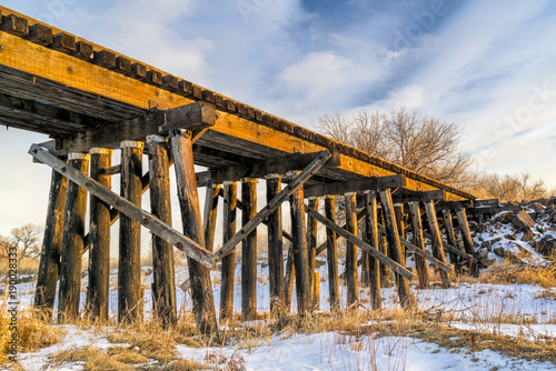 Fotografie, Tablou abandoned railroad timber trestle
