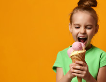 Pretty Baby Girl Kid Eating Licking Banana And Strawberry Ice Cream In Waffles Cone