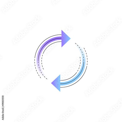 Photo  Neon rotation arrow vector line icon isolated on white background