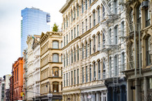 New Modern Building Rises Above The Old Historic Buildings Of SoHo In Manhattan, New York City