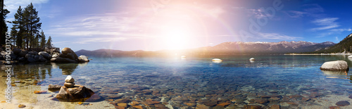 Foto op Plexiglas Meer / Vijver Lake Tahoe Panoramic Sunset Landscape in California