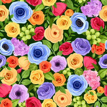 Vector Seamless Background With Red, Orange, Yellow, Blue And Purple Flowers And Green Leaves.