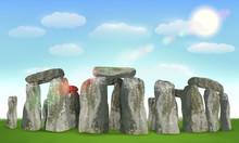 Stonehenge English Landmark On Field With Sky