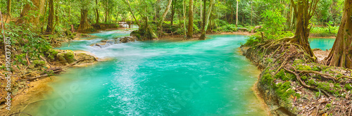 Foto op Canvas Watervallen Tat Sae Waterfalls. Beautiful panorama landscape. Laos.