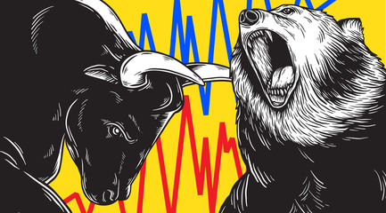 Fototapeta Do biura Bull and Bear Market Investment Business Icon Concept