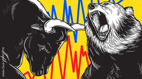 Fotografía  Bull and Bear Market Investment Business Icon Concept