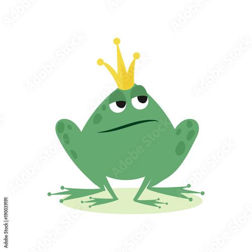 Książe żaba w złotej koronie, bajka charakteru kreskówki wektoru ilustracja