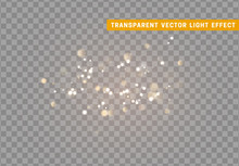 Light Effect Gold Bokeh With Transparent Background.