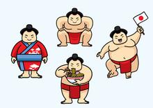 Set Of Cute Sumo Japan Character