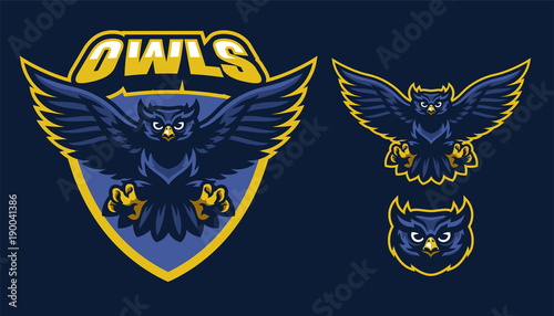 Poster Uilen cartoon sport style of owl mascot