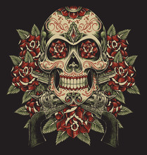 Skull And Roses With Revolvers...
