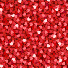Seamless Pattern With Read Glitter Hearts For Valentines Day Decoration. Vector Illustration