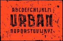 Sans Serif Font In Linocut Style