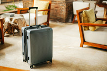 Gray Plastic Suitcase With Thi...