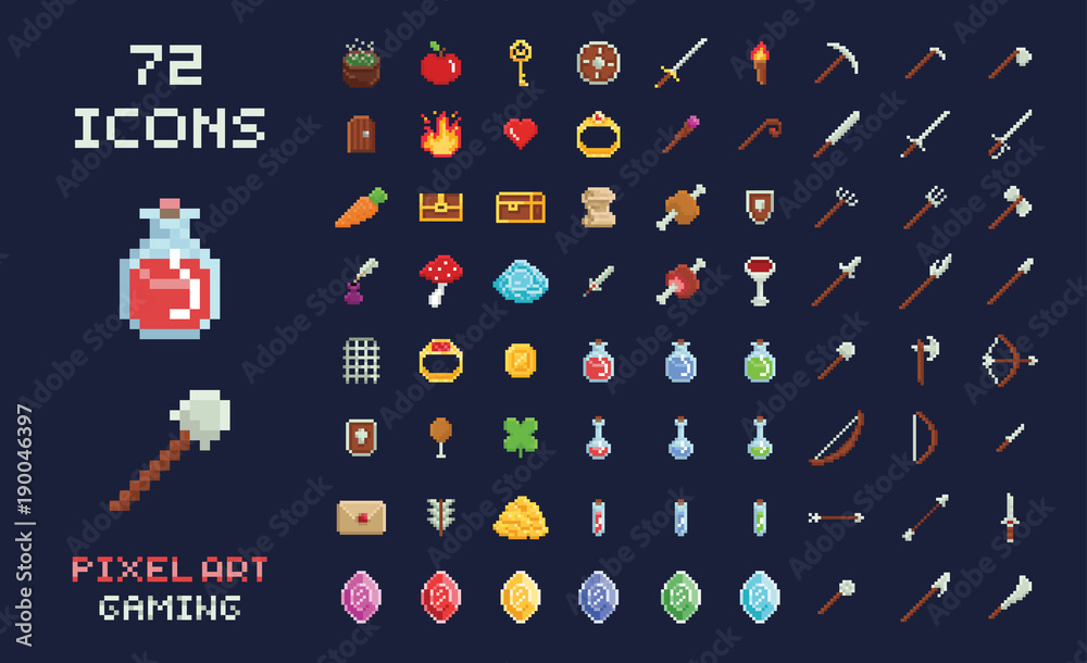 Fototapeta Pixel art vector game design icon video game interface set. Weapons, food, items, potion, magic.