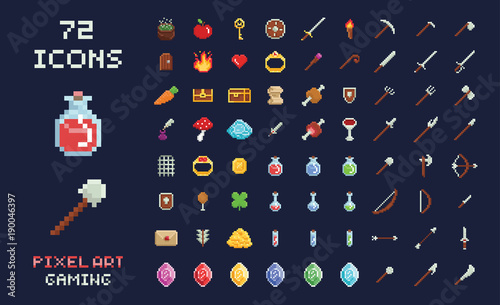 Pixel art vector game design icon video game interface set Fototapet