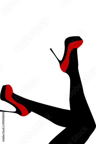 Fotomural Female legs wearing red shoes with high heels