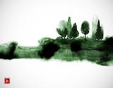 Stylizowane malowanie tuszem z zielonymi mglistymi drzewami leśnymi. Tradycyjne orientalne malarstwo tuszem sumi-e, u-sin, go-hua. Hieroglif - wieczność. - 190051380