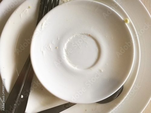 Fotografía  Грязная посуда крупный план.
