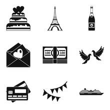 Honeymoon Trip Icons Set, Simple Style