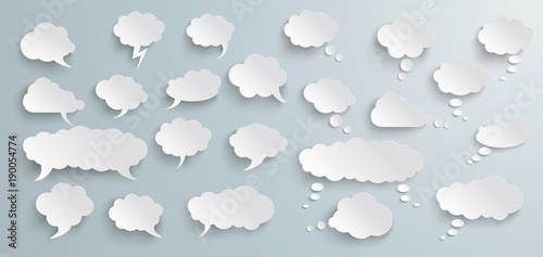Fotografering  Speech And Thought Bubbles Set Grey Banner