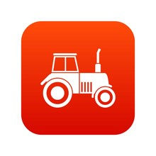 Tractor Icon Digital Red