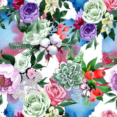 Fototapeta Ogrody Bouquet flower pattern in a watercolor style. Full name of the plant: rose, hulthemia, rosa. Aquarelle wild flower for background, texture, wrapper pattern, frame or border.