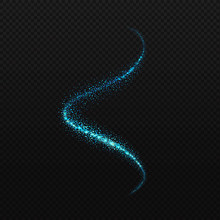 Vector Blue Neon Spiral. Glowing Spark Trail Tracing On Transparent Black Background. Blue Glitter Confetti Spiral Wave Line