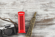 Travel And Tourism Background With Souvenirs From Around The World
