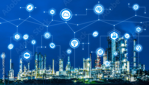 Deurstickers Industrial geb. Industry4.0 and IoT(Internet of Things). Factory automation system. AI(Artificial Intelligence).