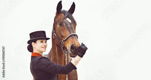 Fotomural Rider elegant woman talking to her horse