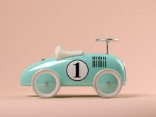 Vintage Blue Toy Car On Pink B...