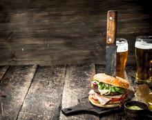 Street Food. A Big Burger With...